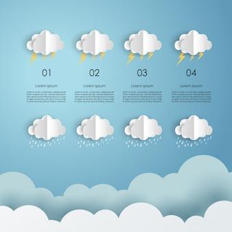 Modelo de design de nuvens de papel e clima moderno