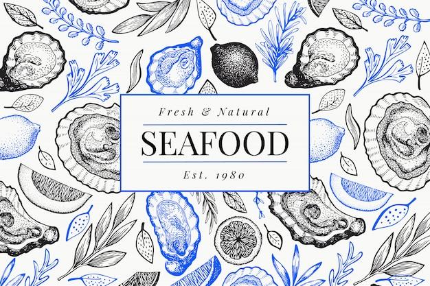 Modelo de design de ostras e especiarias. mão de ilustração vetorial desenhada bandeira de frutos do mar.