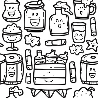 Modelo de design de padrão de desenho animado cerveja doodle