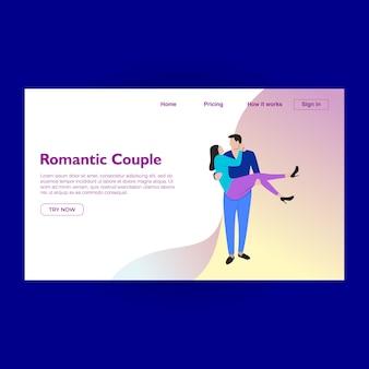 Modelo de design de página de aterrissagem romântica com casal fofo