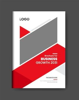 Modelo de design de página de capa de brochura de negócios limpo mínimo tema de design moderno de cor vermelha