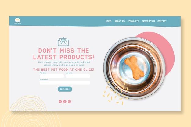 Modelo de design de página de destino de alimentos para animais