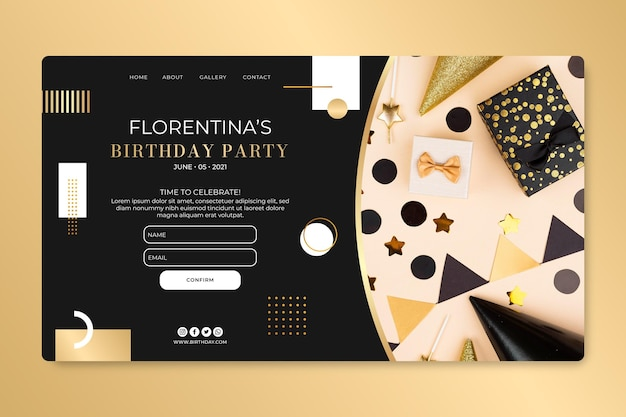 Modelo de design de página de destino de aniversário