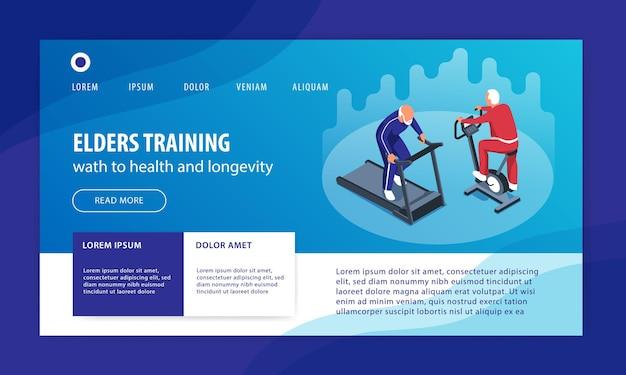 Modelo de design de página de destino de casa de saúde isométrica