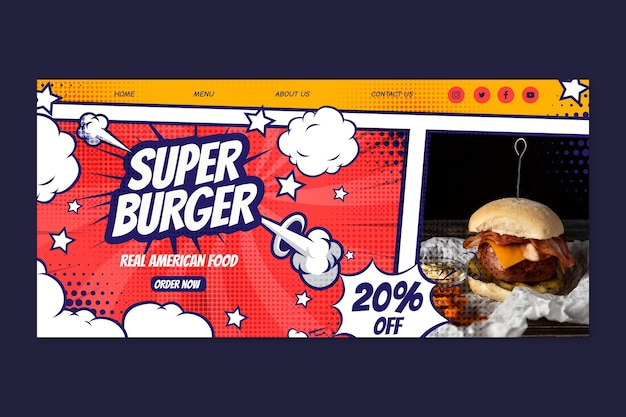 Modelo de design de página de destino de comida americana