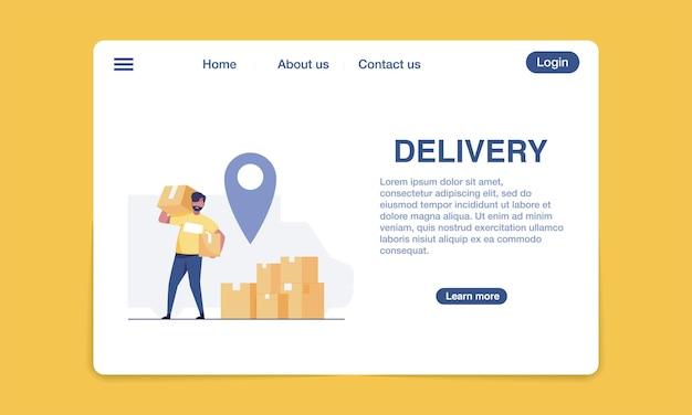 Modelo de design de página de destino de entrega.