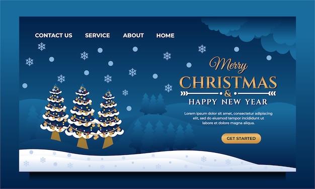 Modelo de design de página de destino de feliz natal e feliz ano novo com árvore de natal e cenário natural à noite