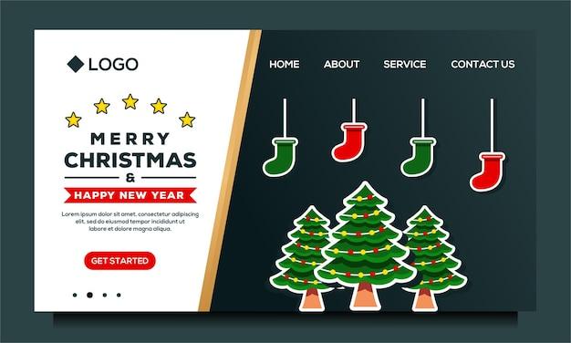Modelo de design de página de destino de feliz natal e feliz ano novo com árvore de natal e meia