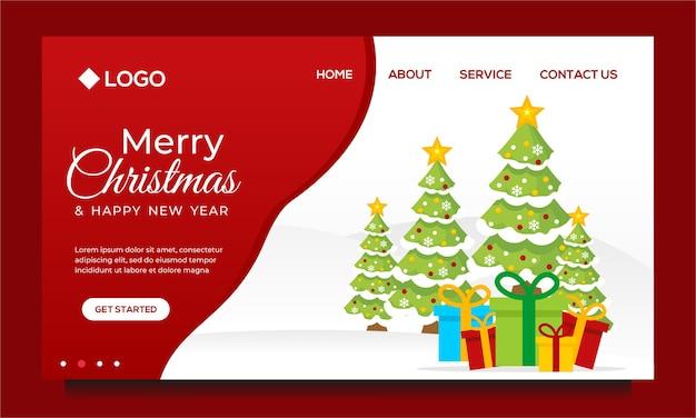 Modelo de design de página de destino de feliz natal e feliz ano novo com árvore de natal
