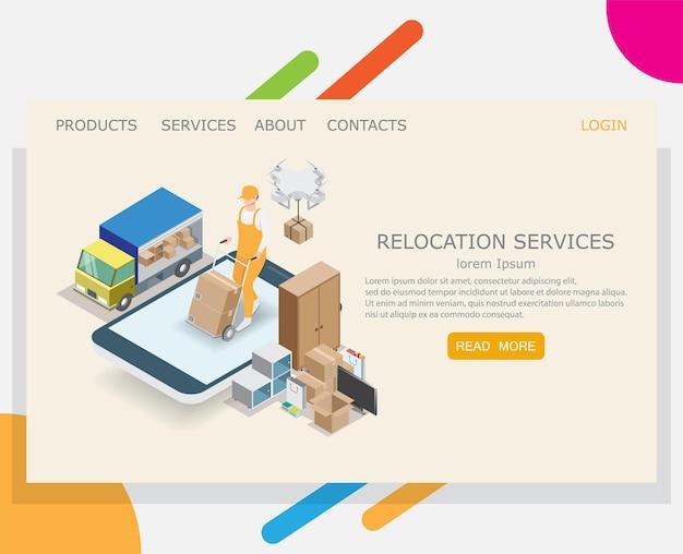 Modelo de design de página de destino do site de serviço de realocação