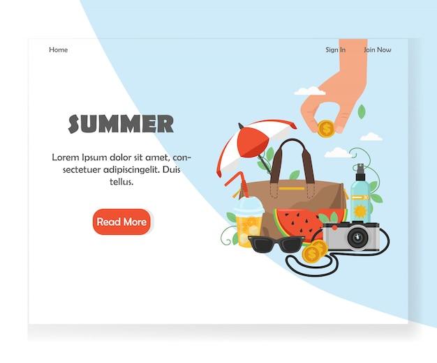 Modelo de design de página de destino do site verão