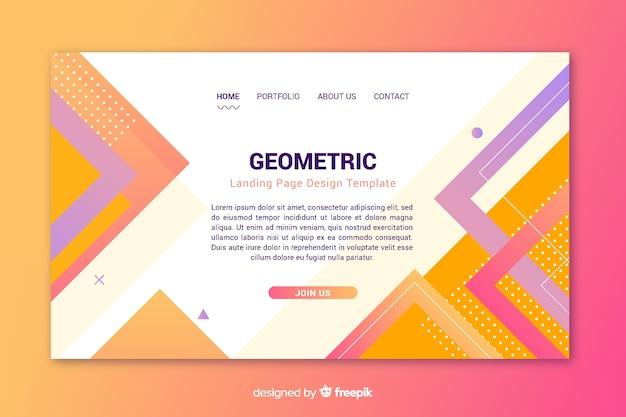 Modelo de design de página de destino geométrico