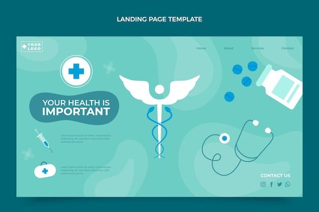 Modelo de design de página de destino médica plana