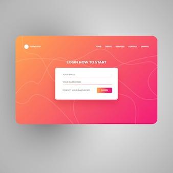 Modelo de design de página de login de gradiente moderno