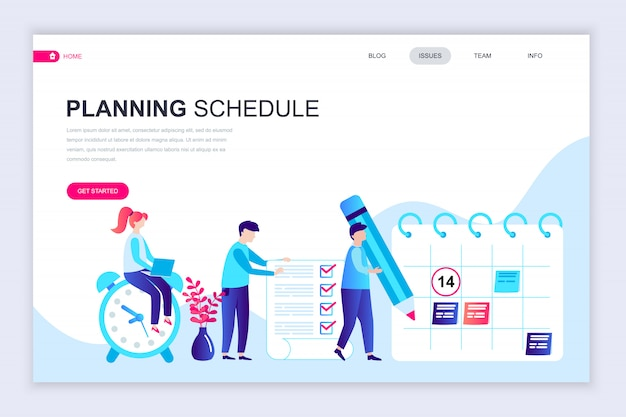 Modelo de design de página web apartamento moderno do cronograma de planejamento