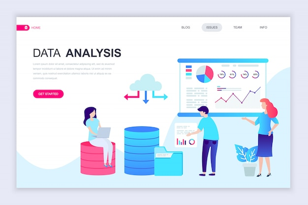Modelo de design de página web plana moderna de análise de dados
