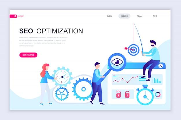 Modelo de design de página web plana moderna de análise de seo
