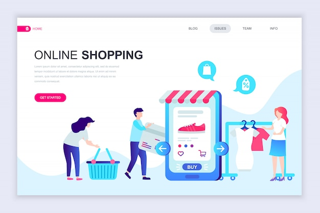Modelo de design de página web plana moderna de compras on-line