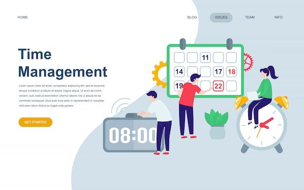Modelo de design de página web plana moderna de gerenciamento de tempo