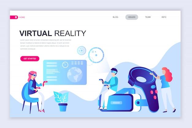 Modelo de design de página web plana moderna de realidade virtual