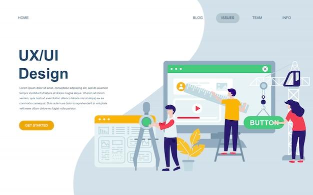 Modelo de design de página web plana moderna de ux, design de interface do usuário
