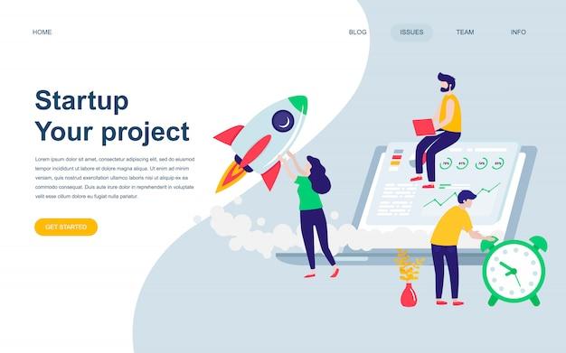 Modelo de design de página web plana moderna do projeto de inicialização
