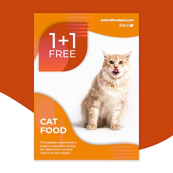 Modelo de design de panfleto de comida animal