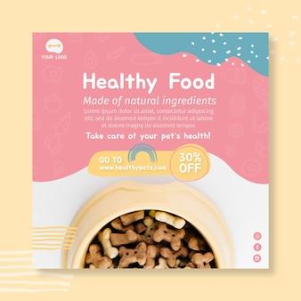 Modelo de design de panfleto quadrado de comida animal
