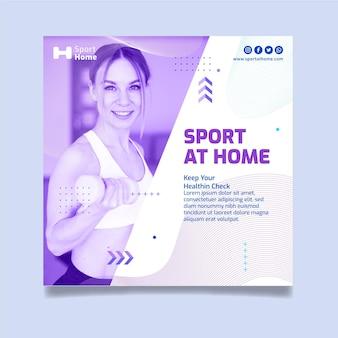 Modelo de design de panfleto quadrado de esporte em casa