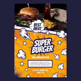 Modelo de design de panfleto vertical de comida americana