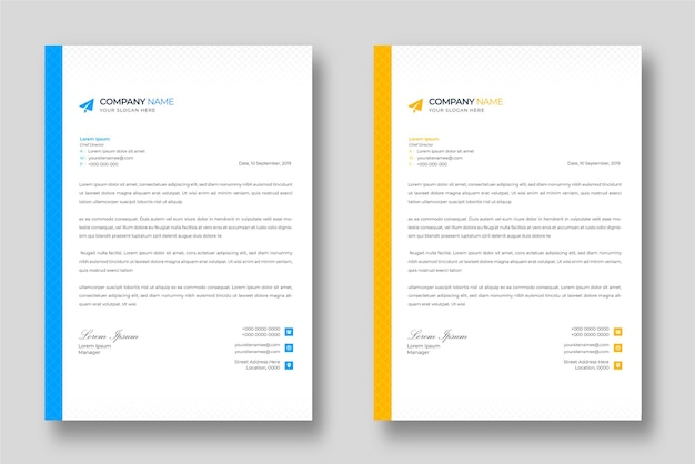 Modelo de design de papel timbrado corporativo moderno com formas azuis e amarelas