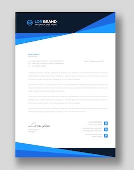 Modelo de design de papel timbrado corporativo moderno com formas azuis