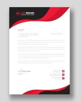 Modelo de design de papel timbrado corporativo moderno com formas vermelhas