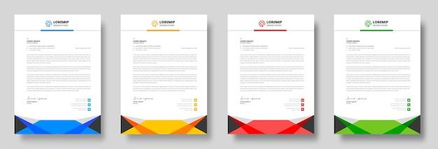 Modelo de design de papel timbrado corporativo moderno empresarial com cores amarelo azul verde e vermelho