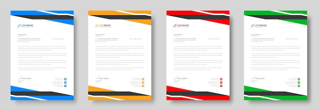 Modelo de design de papel timbrado empresarial moderno com cores amarelo azul verde e vermelho