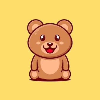 Modelo de design de personagem urso bebê fofo para elemento do dia mundial animal