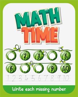 Modelo de design de planilha para matemática com número ausente