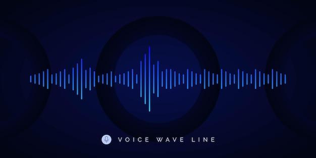 Modelo de design de plano de fundo de linha de onda de gravação de voz