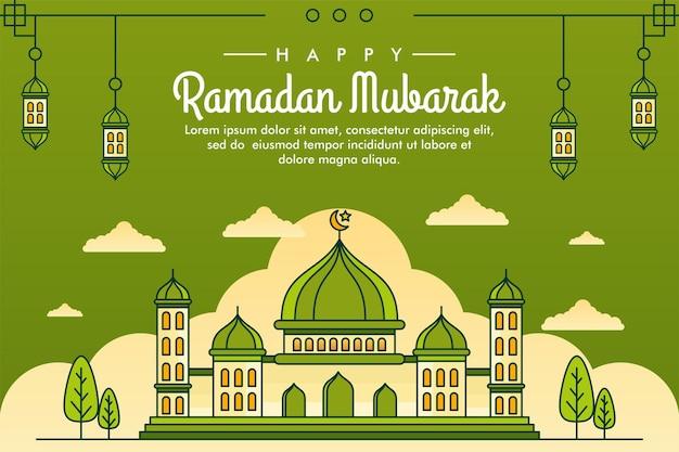 Modelo de design de plano de fundo ilustrado de arte em linha ramadan mubarak