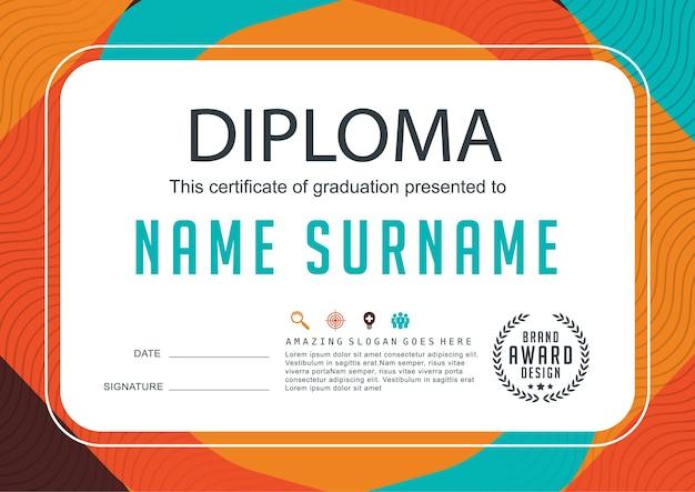 Modelo de design de plano de fundo para certificado de diploma de crianças pré-escolares