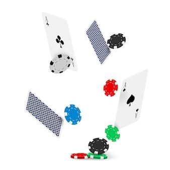 Modelo de design de pôquer de cassino. conceito de jogo de cartas e fichas de pôquer caindo.