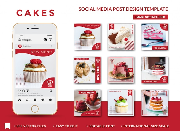 Modelo de design de post de mídia social de bolos