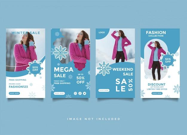 Modelo de design de post de mídia social de inverno