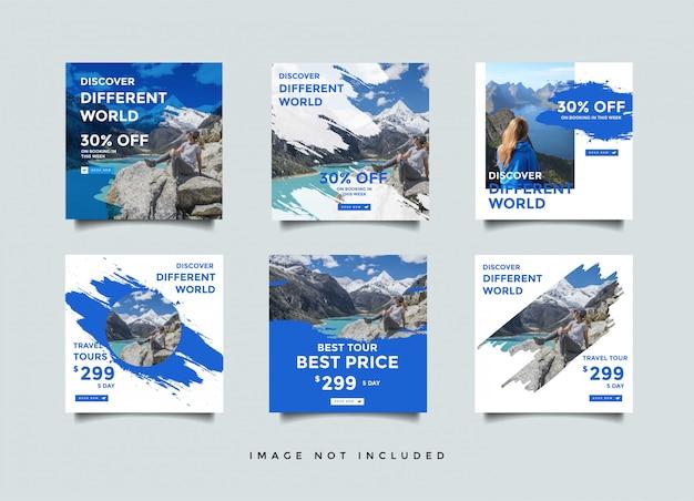 Modelo de design de postagem de mídia social de viagens