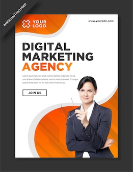 Modelo de design de pôster de agência de marketing digital