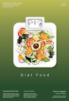 Modelo de design de poster de comida orgânica salada vegetal