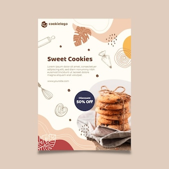 Modelo de design de pôster de cookies