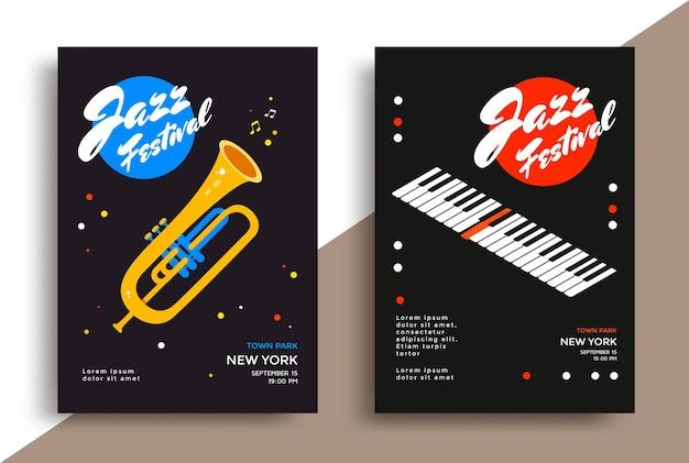 Modelo de design de pôster de festival de música jazz com teclas de piano e trompete