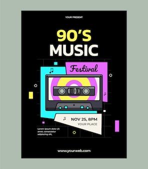 Modelo de design de pôster do festival de música dos anos 90