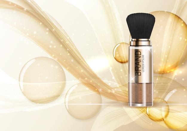 Modelo de design de produto cosmético em pó para anúncios ou fundo de revista